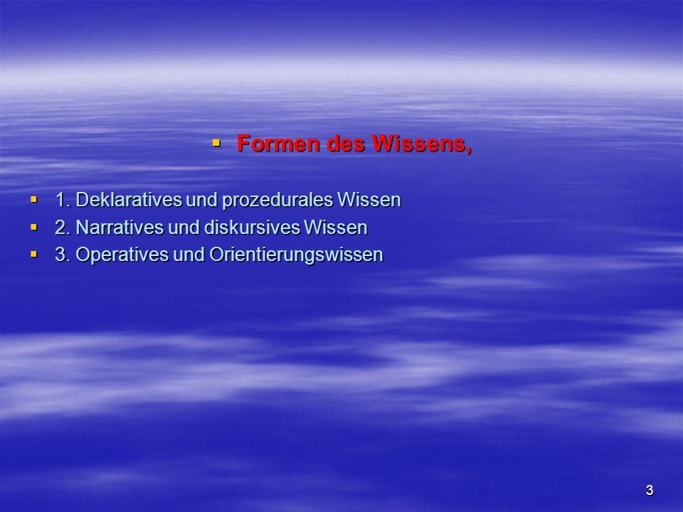 Formen des Wissens, 1. Deklaratives und prozedurales Wissen