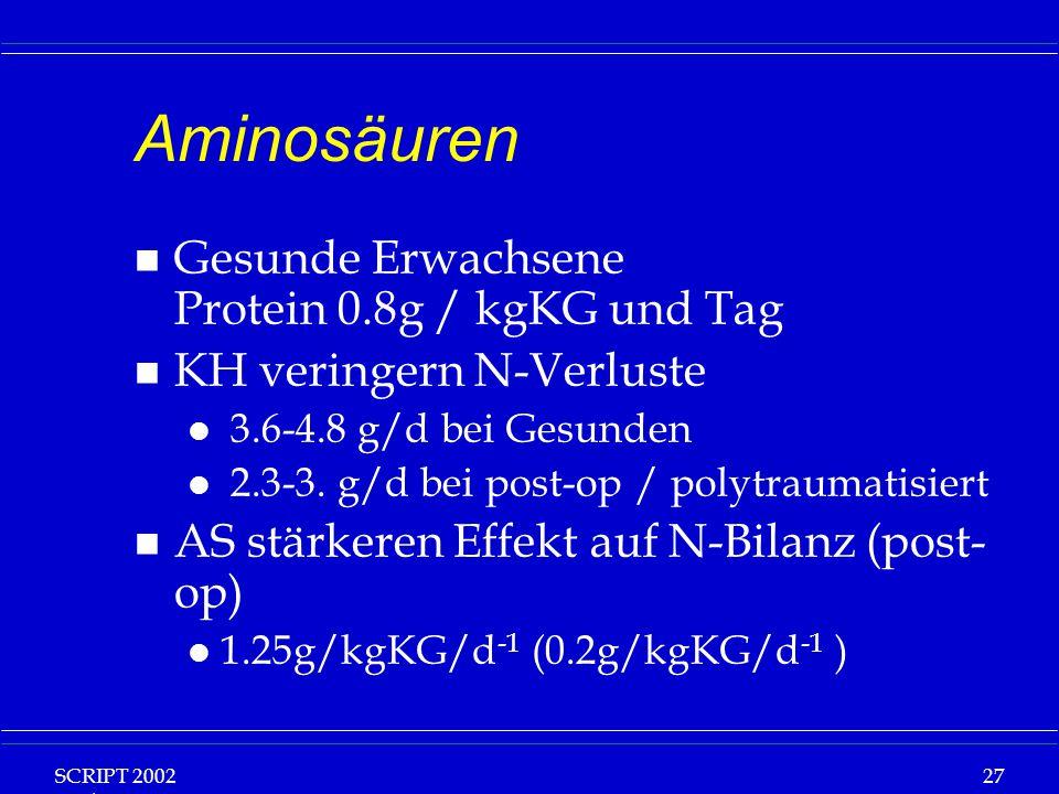 Aminosäuren Gesunde Erwachsene Protein 0.8g / kgKG und Tag