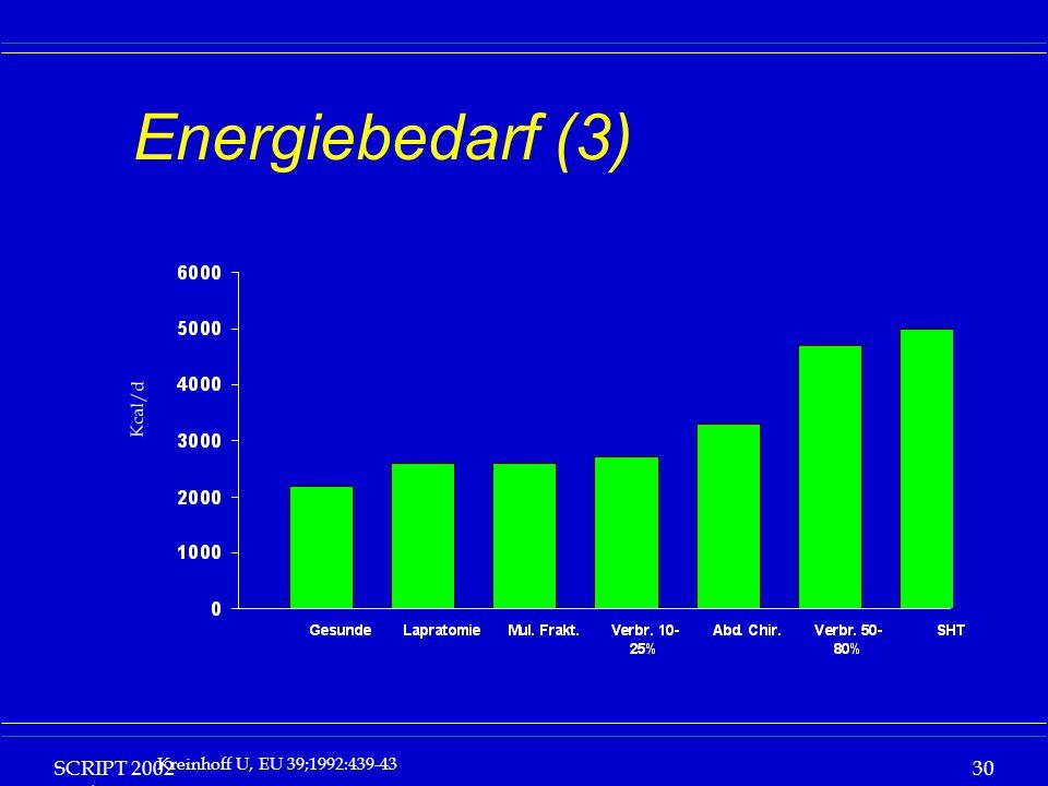 Energiebedarf (3) Kcal/d. SCRIPT 2002 Vorlesung: Grundlagen Klinische Ernährung.