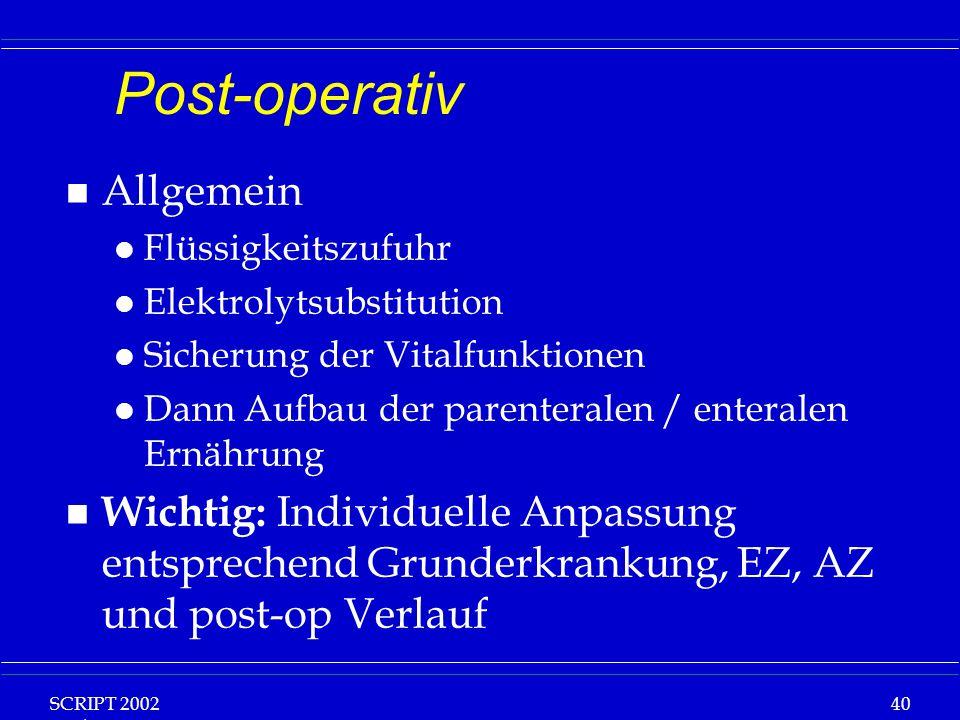 Post-operativ Allgemein