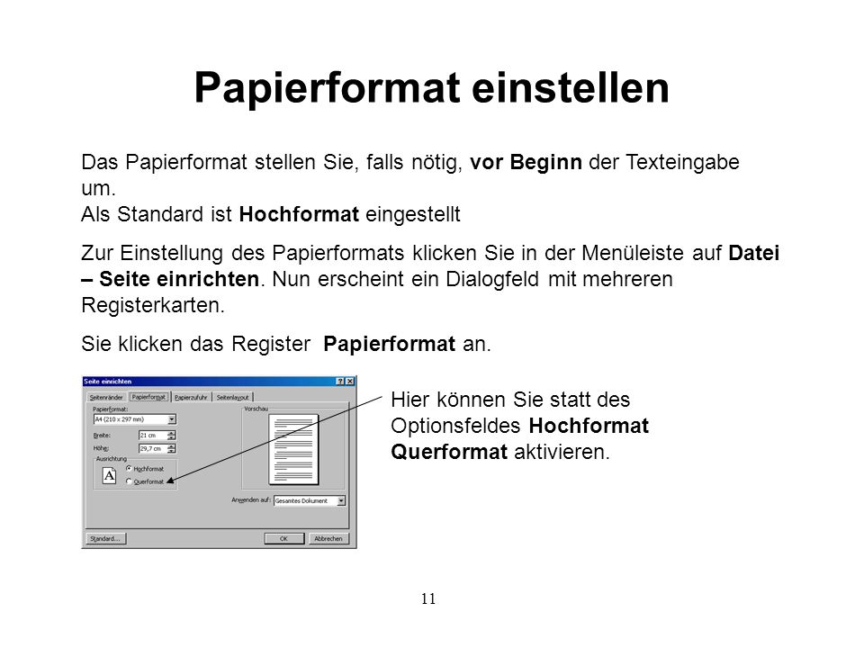Papierformat einstellen