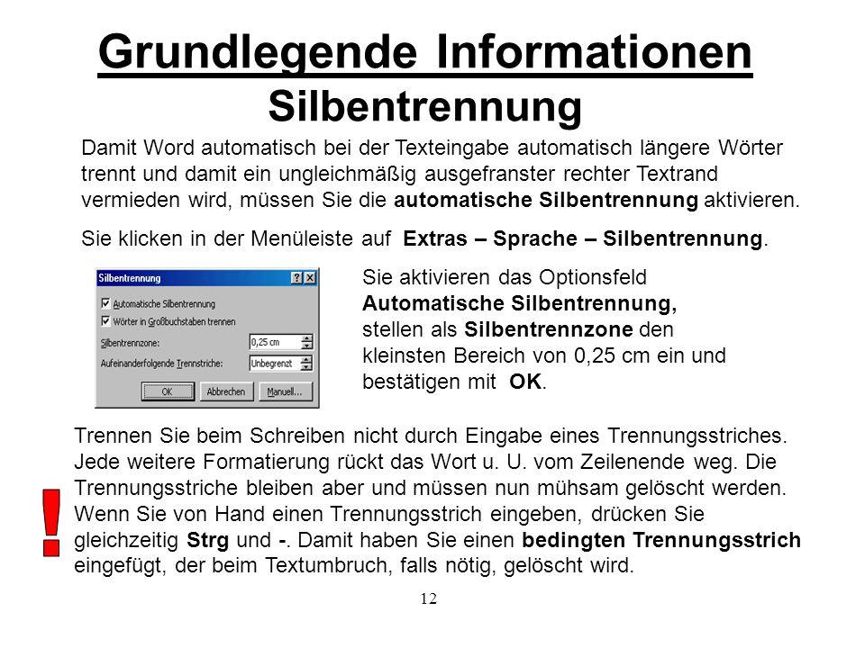 Grundlegende Informationen Silbentrennung