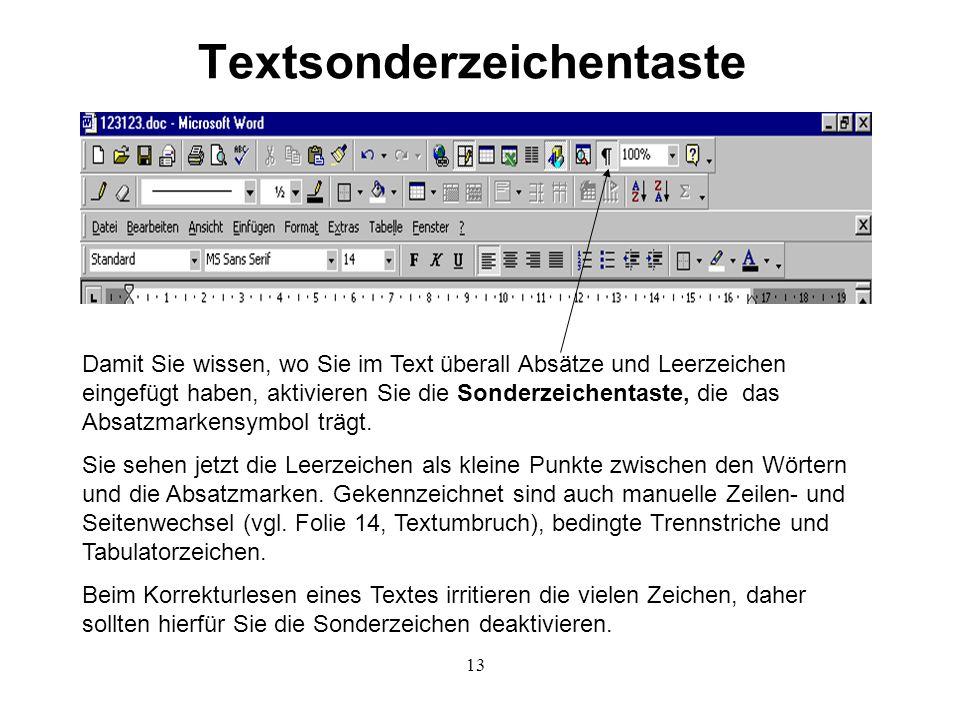 Textsonderzeichentaste