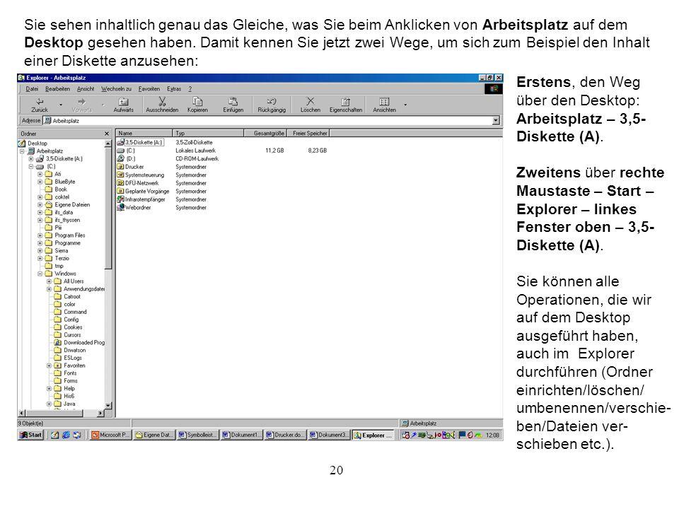 Sie sehen inhaltlich genau das Gleiche, was Sie beim Anklicken von Arbeitsplatz auf dem Desktop gesehen haben. Damit kennen Sie jetzt zwei Wege, um sich zum Beispiel den Inhalt einer Diskette anzusehen: