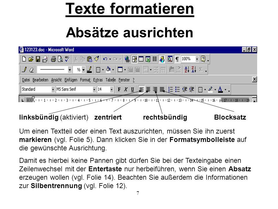 Texte formatieren Absätze ausrichten
