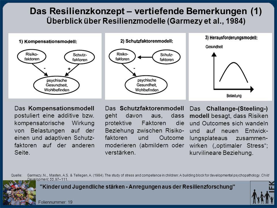 Das Resilienzkonzept – vertiefende Bemerkungen (1) Überblick über Resilienzmodelle (Garmezy et al., 1984)