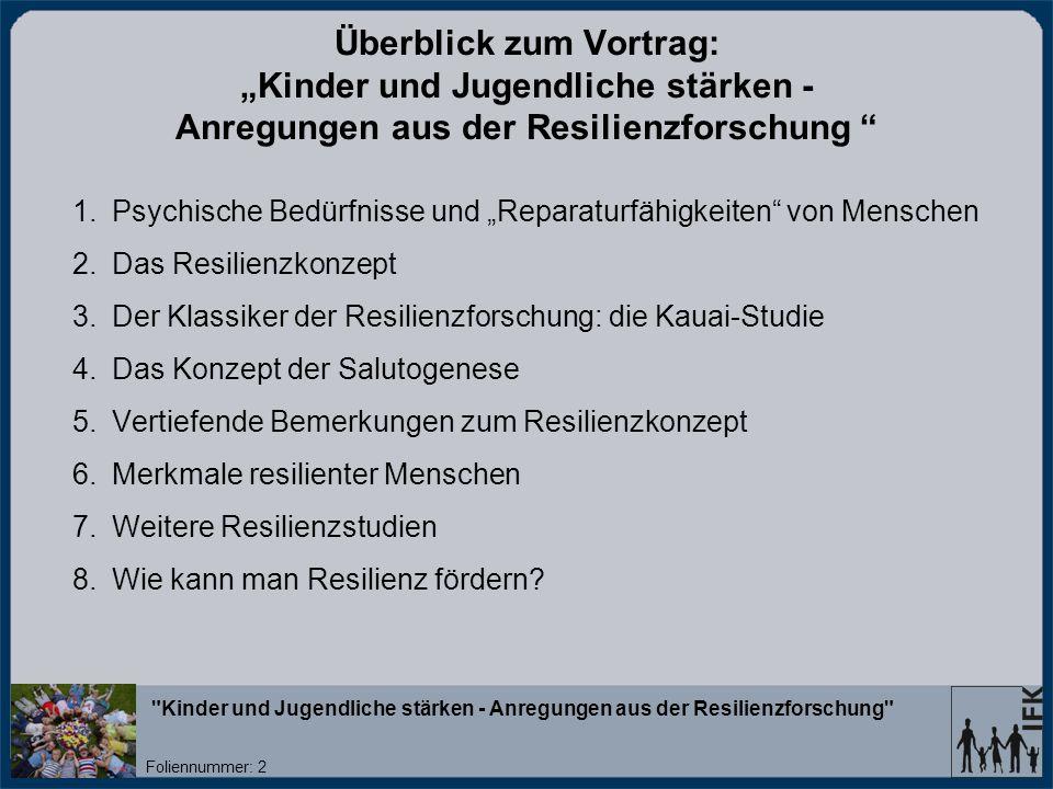 """Überblick zum Vortrag: """"Kinder und Jugendliche stärken - Anregungen aus der Resilienzforschung"""