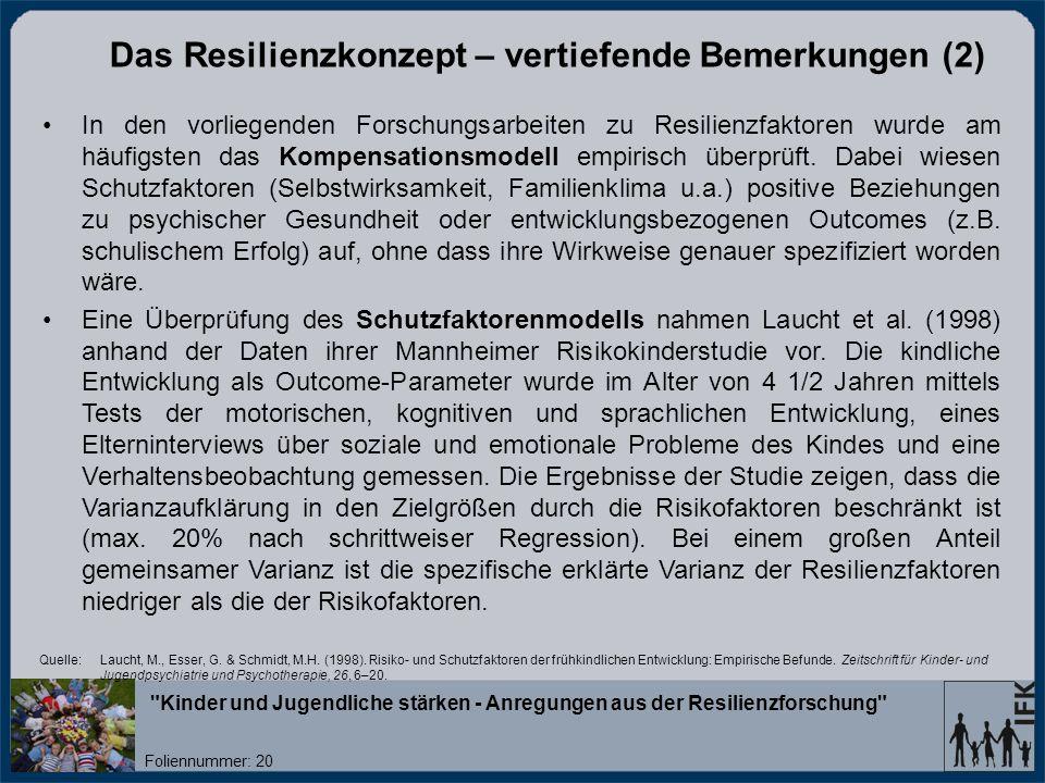 Das Resilienzkonzept – vertiefende Bemerkungen (2)