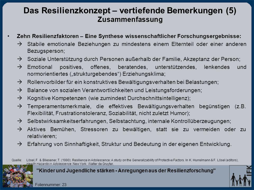 Das Resilienzkonzept – vertiefende Bemerkungen (5) Zusammenfassung