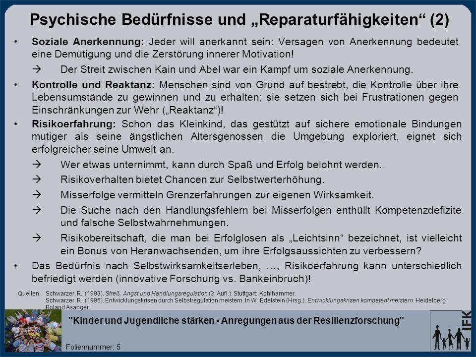 """Psychische Bedürfnisse und """"Reparaturfähigkeiten (2)"""