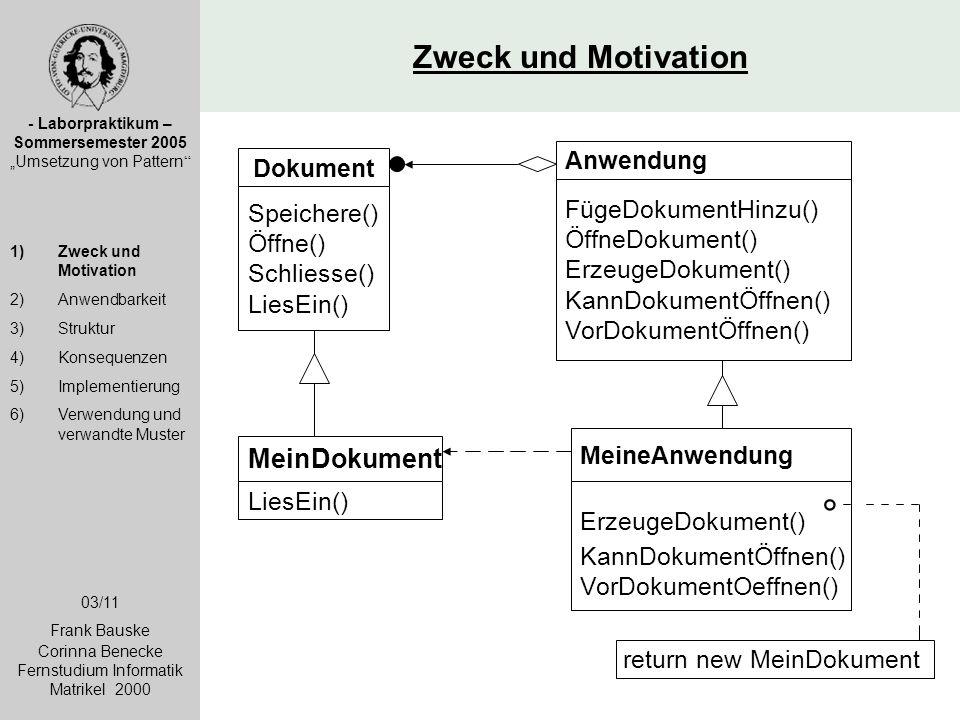 Zweck und Motivation MeinDokument Anwendung Dokument