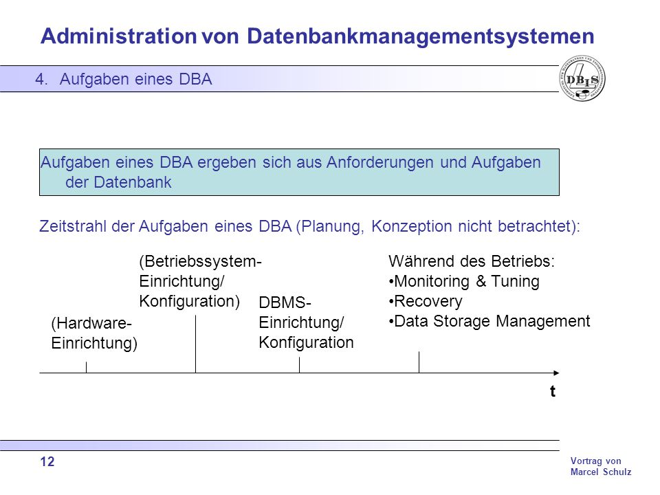 Data Storage Management DBMS- Einrichtung/ Konfiguration (Hardware-