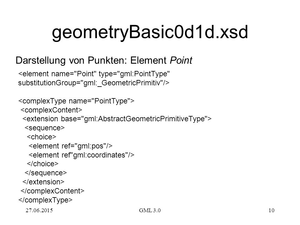 geometryBasic0d1d.xsd Darstellung von Punkten: Element Point