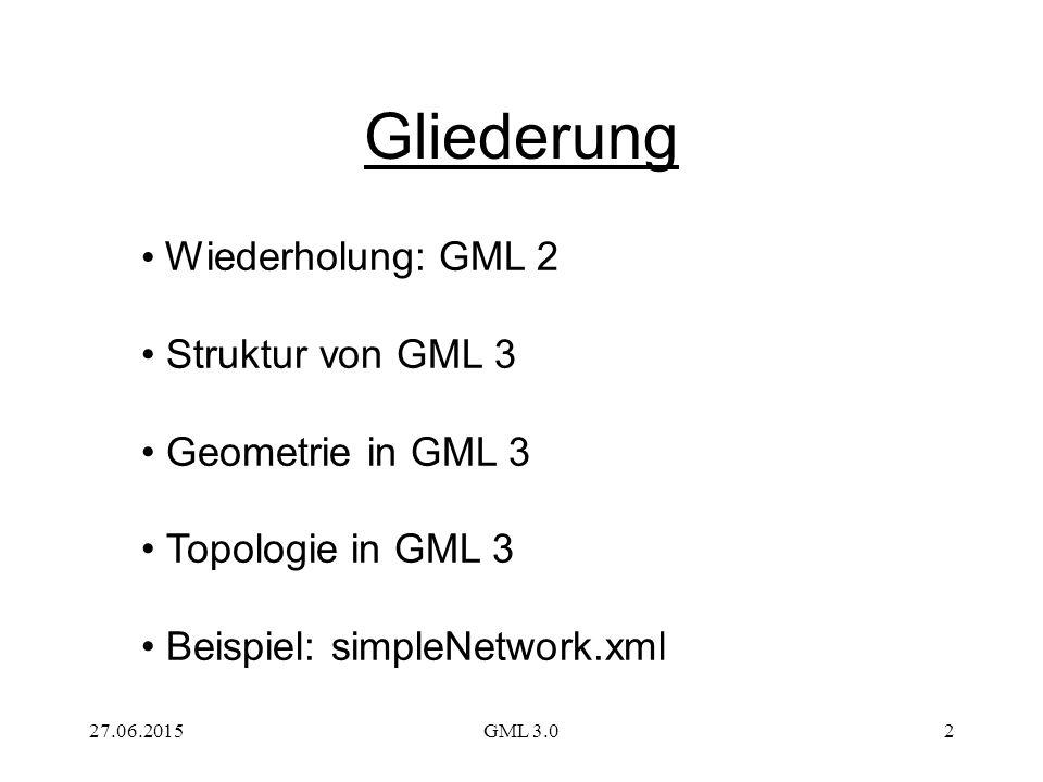 Gliederung Wiederholung: GML 2 Struktur von GML 3 Geometrie in GML 3