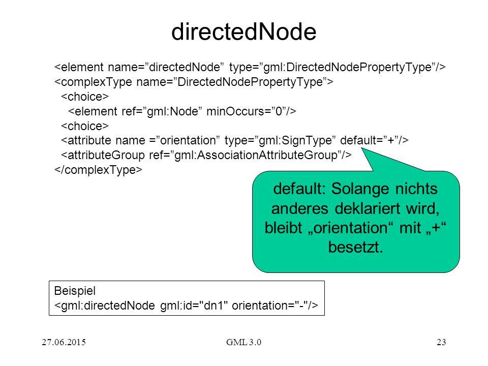 directedNode <element name= directedNode type= gml:DirectedNodePropertyType /> <complexType name= DirectedNodePropertyType >