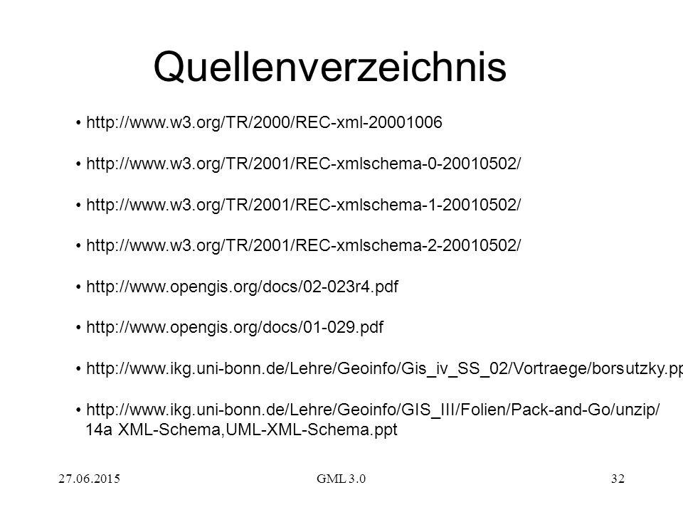 Quellenverzeichnis http://www.w3.org/TR/2000/REC-xml-20001006