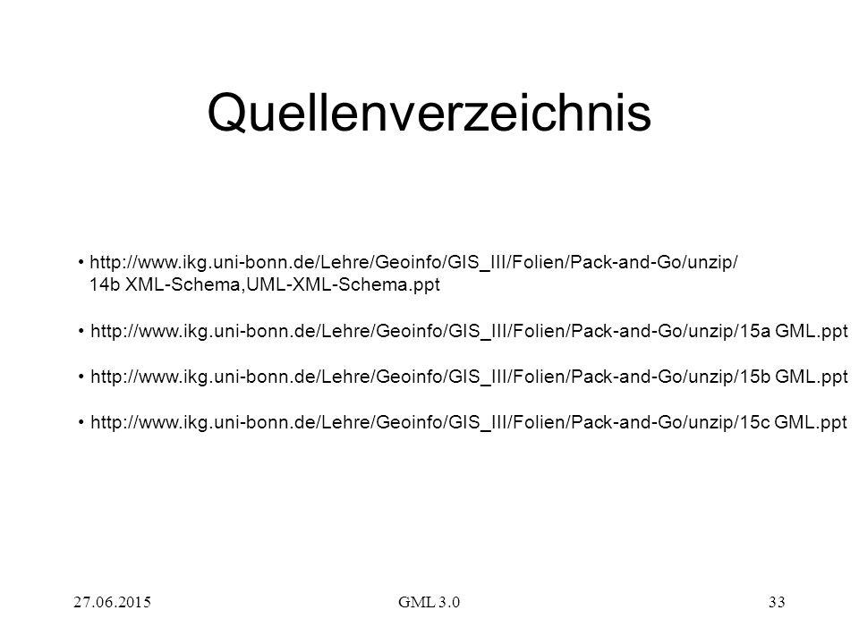Quellenverzeichnis http://www.ikg.uni-bonn.de/Lehre/Geoinfo/GIS_III/Folien/Pack-and-Go/unzip/ 14b XML-Schema,UML-XML-Schema.ppt.