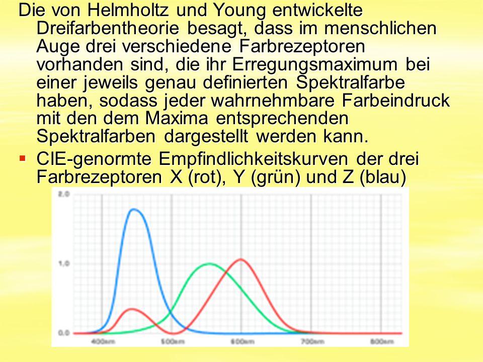 Die von Helmholtz und Young entwickelte Dreifarbentheorie besagt, dass im menschlichen Auge drei verschiedene Farbrezeptoren vorhanden sind, die ihr Erregungsmaximum bei einer jeweils genau definierten Spektralfarbe haben, sodass jeder wahrnehmbare Farbeindruck mit den dem Maxima entsprechenden Spektralfarben dargestellt werden kann.