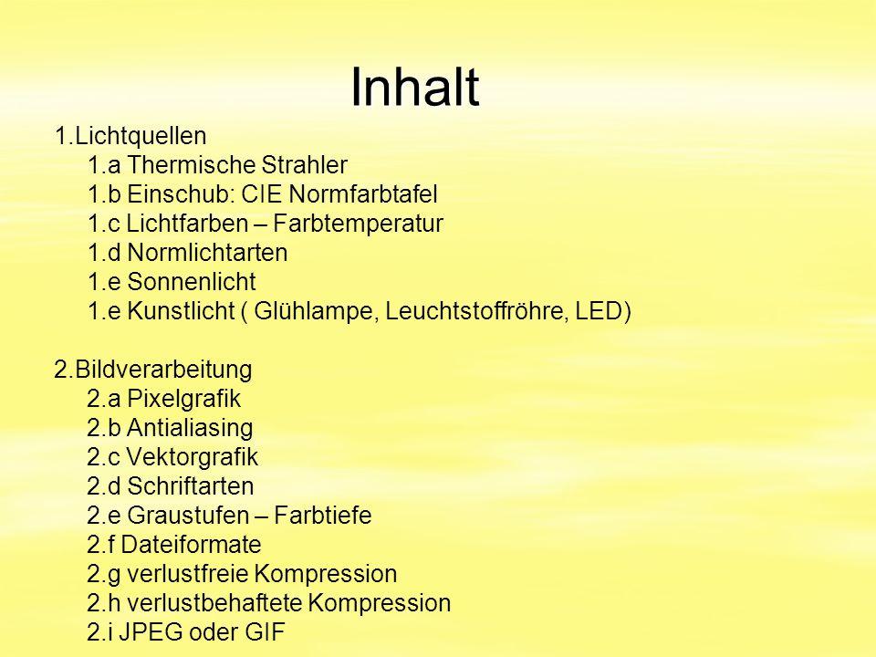 Inhalt 1.Lichtquellen 1.a Thermische Strahler