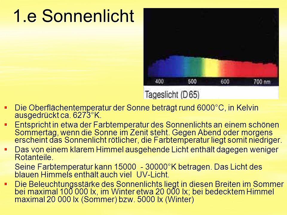 1.e Sonnenlicht Die Oberflächentemperatur der Sonne beträgt rund 6000°C, in Kelvin ausgedrückt ca. 6273°K.