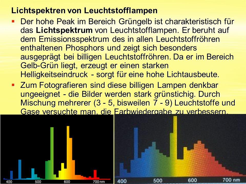 Lichtspektren von Leuchtstofflampen