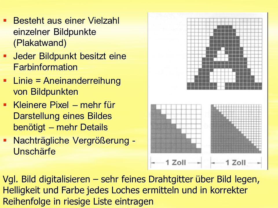 Besteht aus einer Vielzahl einzelner Bildpunkte (Plakatwand)