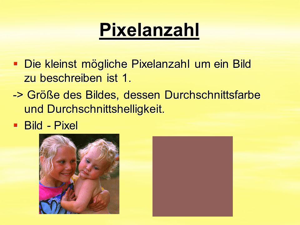 Pixelanzahl Die kleinst mögliche Pixelanzahl um ein Bild zu beschreiben ist 1.