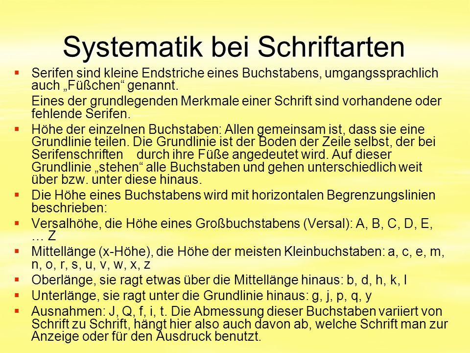 Systematik bei Schriftarten