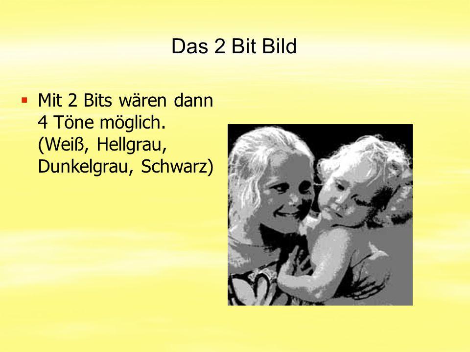 Das 2 Bit Bild Mit 2 Bits wären dann 4 Töne möglich. (Weiß, Hellgrau, Dunkelgrau, Schwarz)