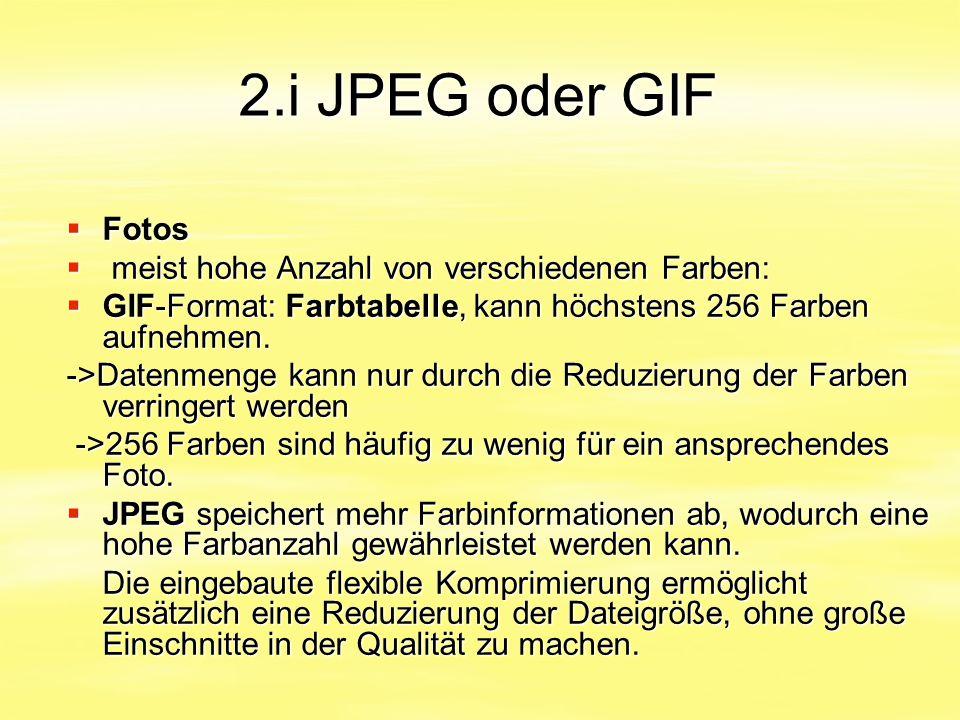 2.i JPEG oder GIF Fotos meist hohe Anzahl von verschiedenen Farben: