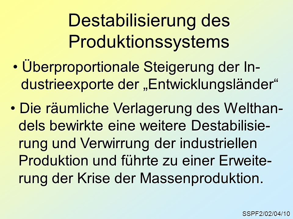 Destabilisierung des Produktionssystems