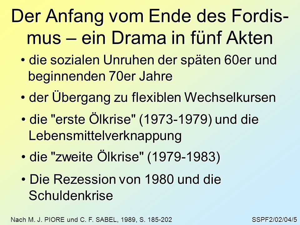 Der Anfang vom Ende des Fordis-mus – ein Drama in fünf Akten