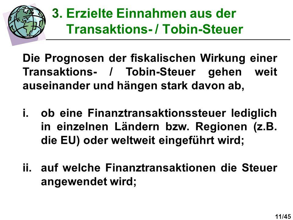 3. Erzielte Einnahmen aus der Transaktions- / Tobin-Steuer