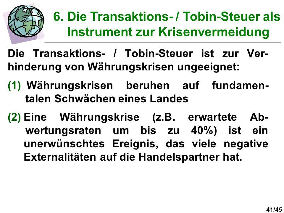 6. Die Transaktions- / Tobin-Steuer als