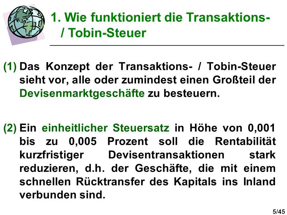 1. Wie funktioniert die Transaktions- / Tobin-Steuer