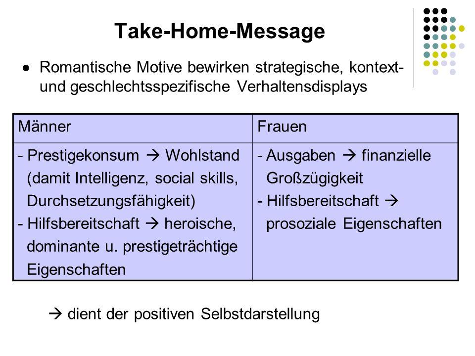 Take-Home-Message Romantische Motive bewirken strategische, kontext- und geschlechtsspezifische Verhaltensdisplays.