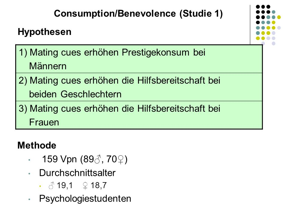 Consumption/Benevolence (Studie 1)