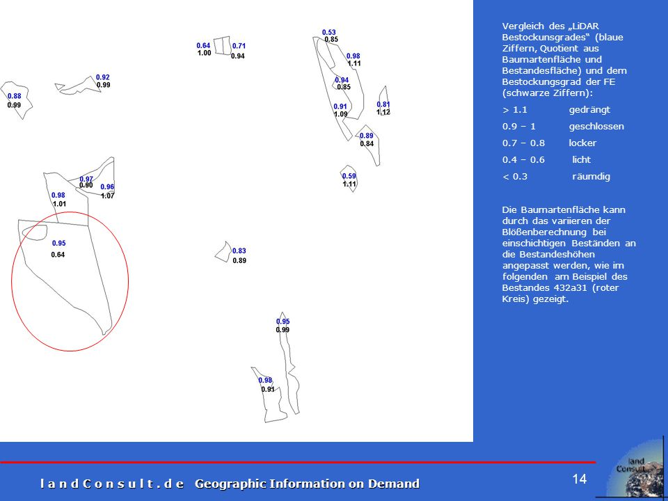 """Vergleich des """"LiDAR Bestockunsgrades (blaue Ziffern, Quotient aus Baumartenfläche und Bestandesfläche) und dem Bestockungsgrad der FE (schwarze Ziffern):"""