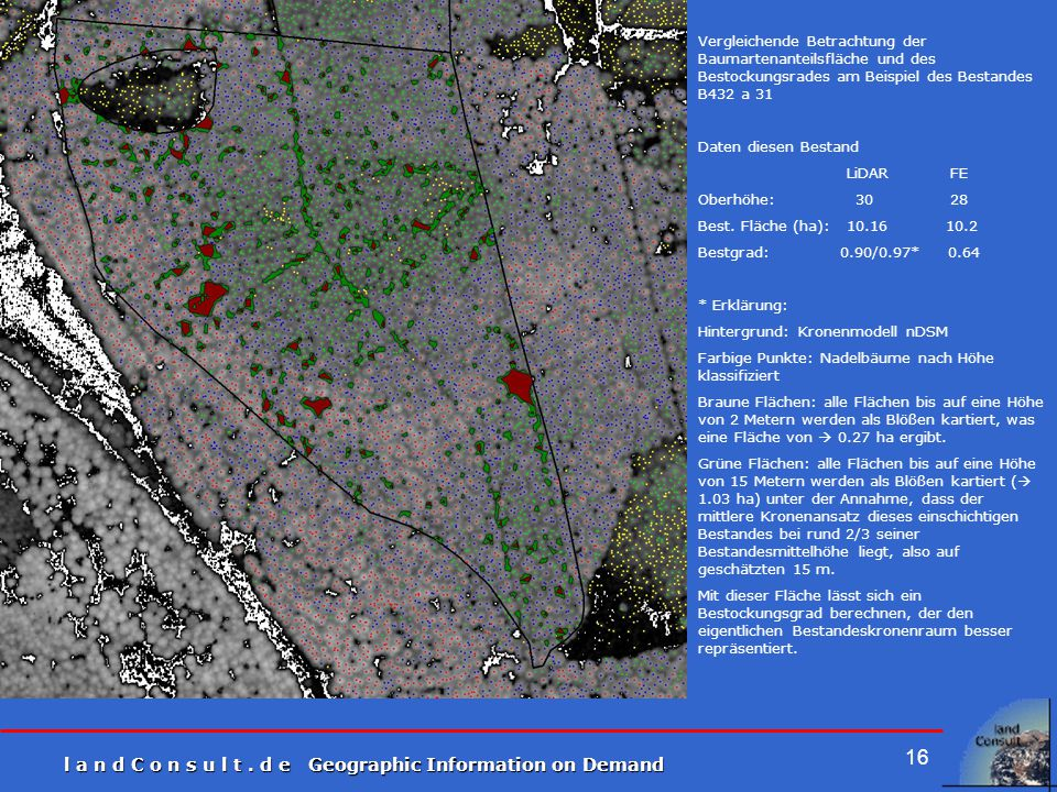 Vergleichende Betrachtung der Baumartenanteilsfläche und des Bestockungsrades am Beispiel des Bestandes B432 a 31