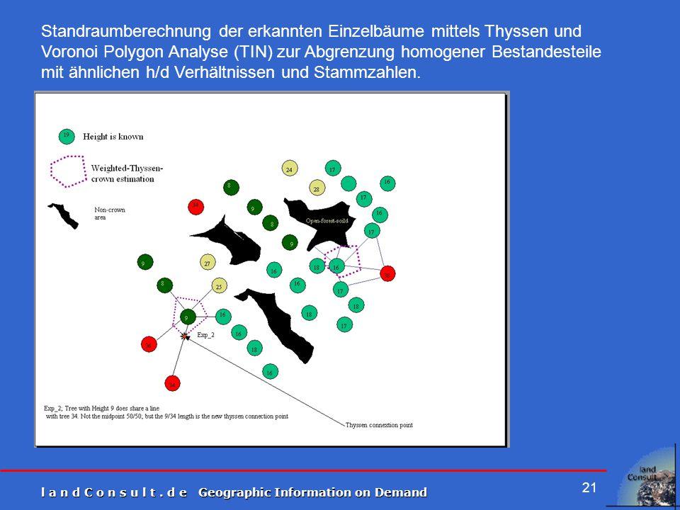 Standraumberechnung der erkannten Einzelbäume mittels Thyssen und Voronoi Polygon Analyse (TIN) zur Abgrenzung homogener Bestandesteile mit ähnlichen h/d Verhältnissen und Stammzahlen.