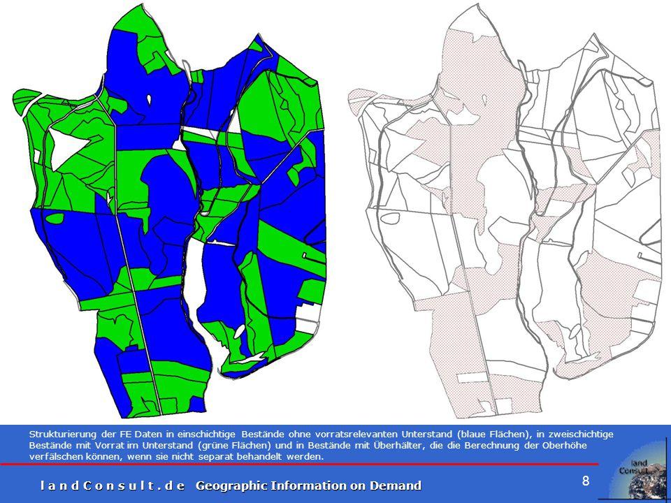 Strukturierung der FE Daten in einschichtige Bestände ohne vorratsrelevanten Unterstand (blaue Flächen), in zweischichtige Bestände mit Vorrat im Unterstand (grüne Flächen) und in Bestände mit Überhälter, die die Berechnung der Oberhöhe verfälschen können, wenn sie nicht separat behandelt werden.