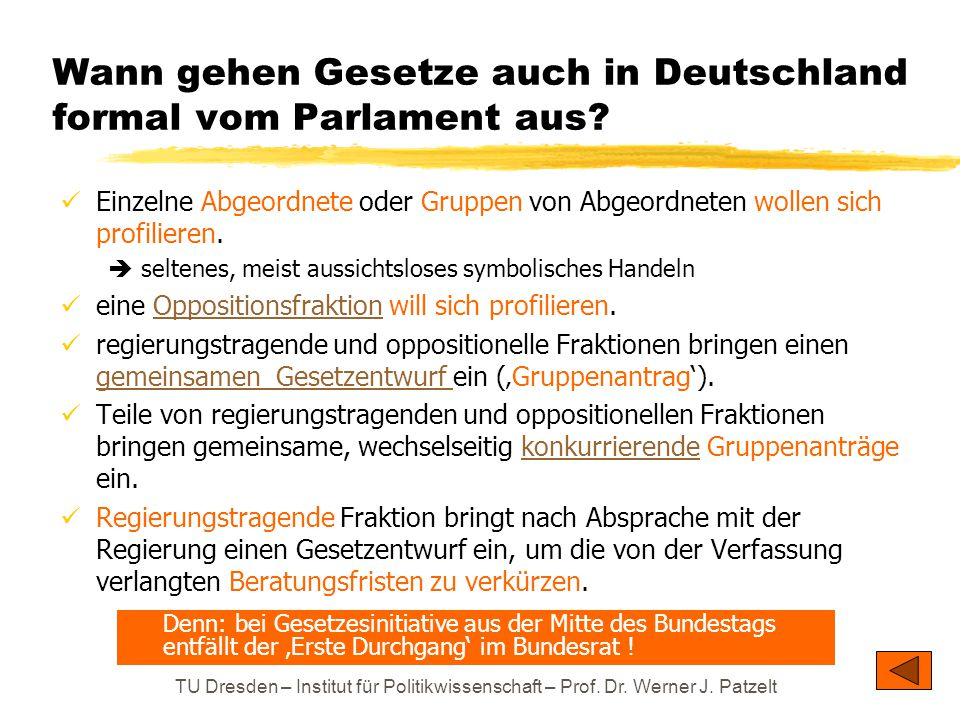 Wann gehen Gesetze auch in Deutschland formal vom Parlament aus