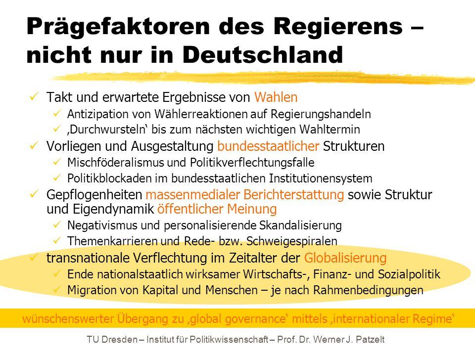 Prägefaktoren des Regierens – nicht nur in Deutschland