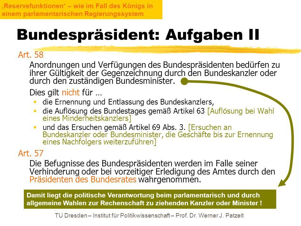 Bundespräsident: Aufgaben II