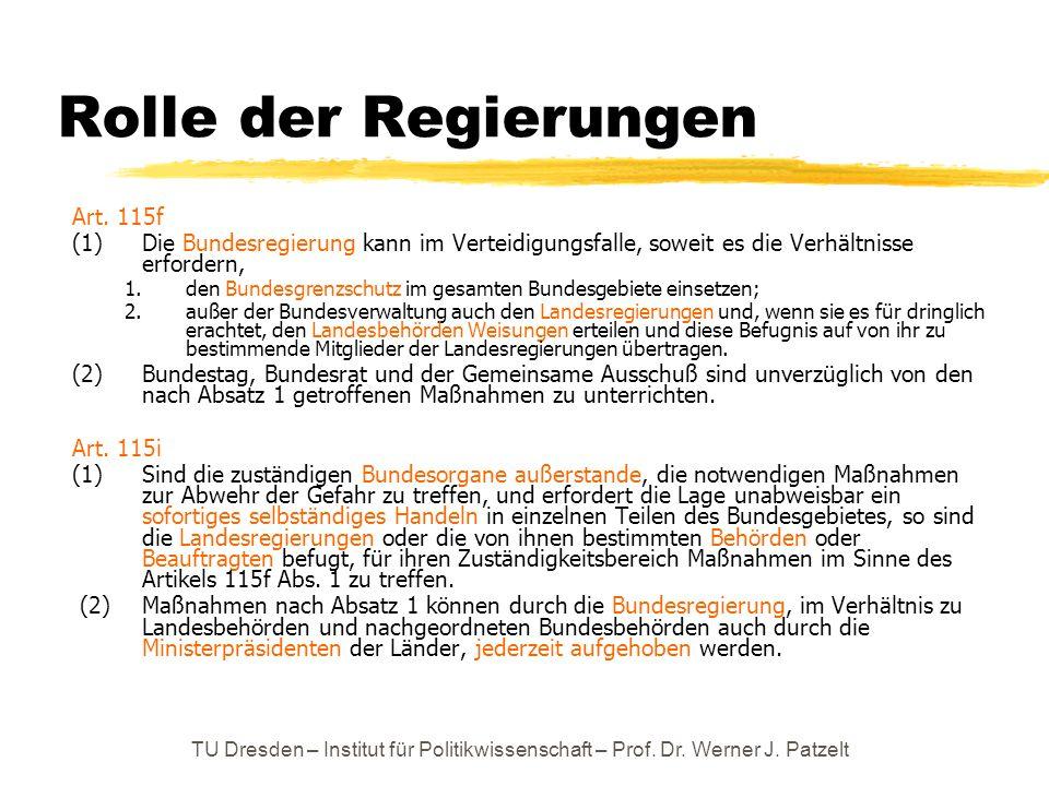 Rolle der Regierungen Art. 115f