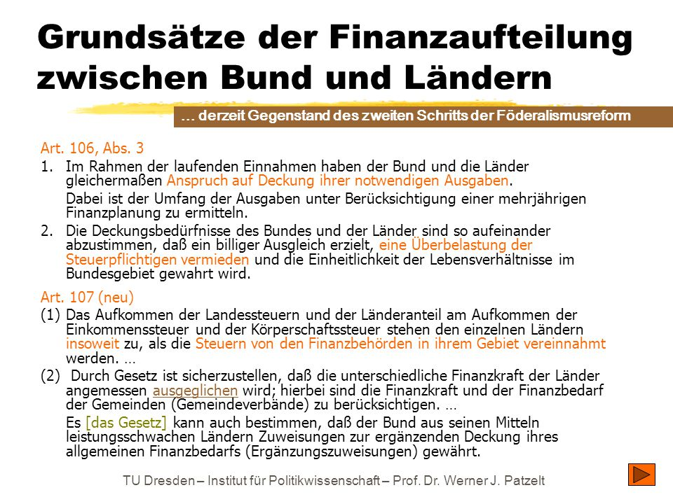 Grundsätze der Finanzaufteilung zwischen Bund und Ländern