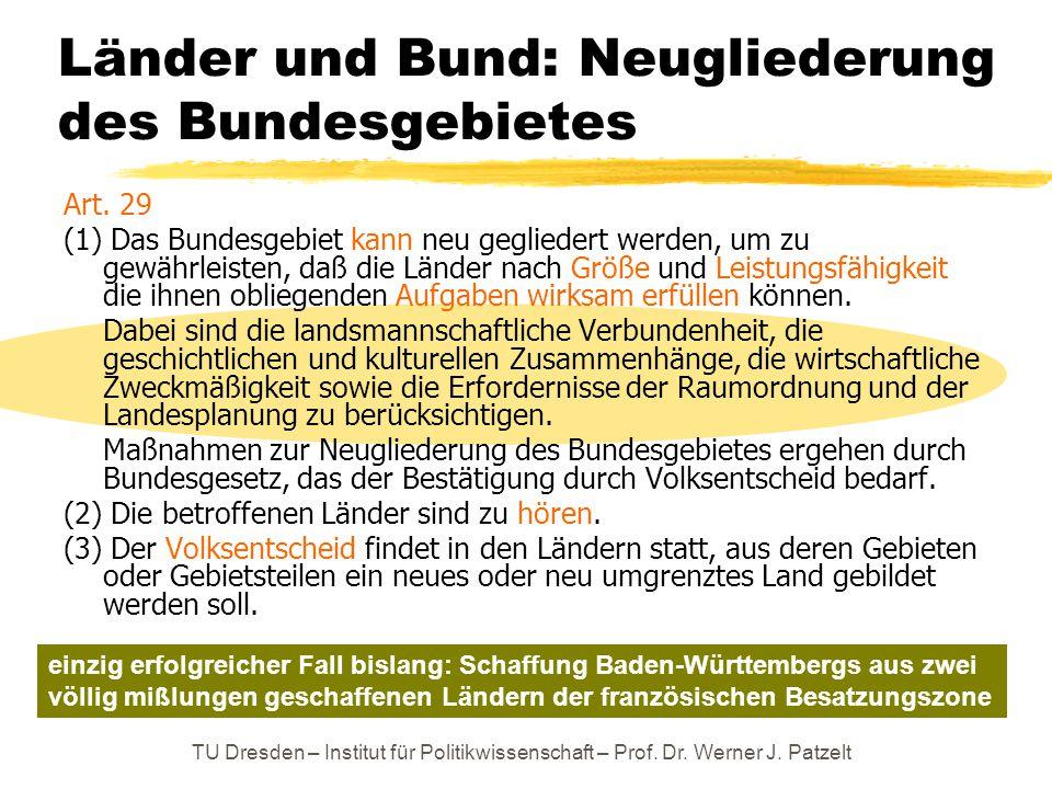 Länder und Bund: Neugliederung des Bundesgebietes