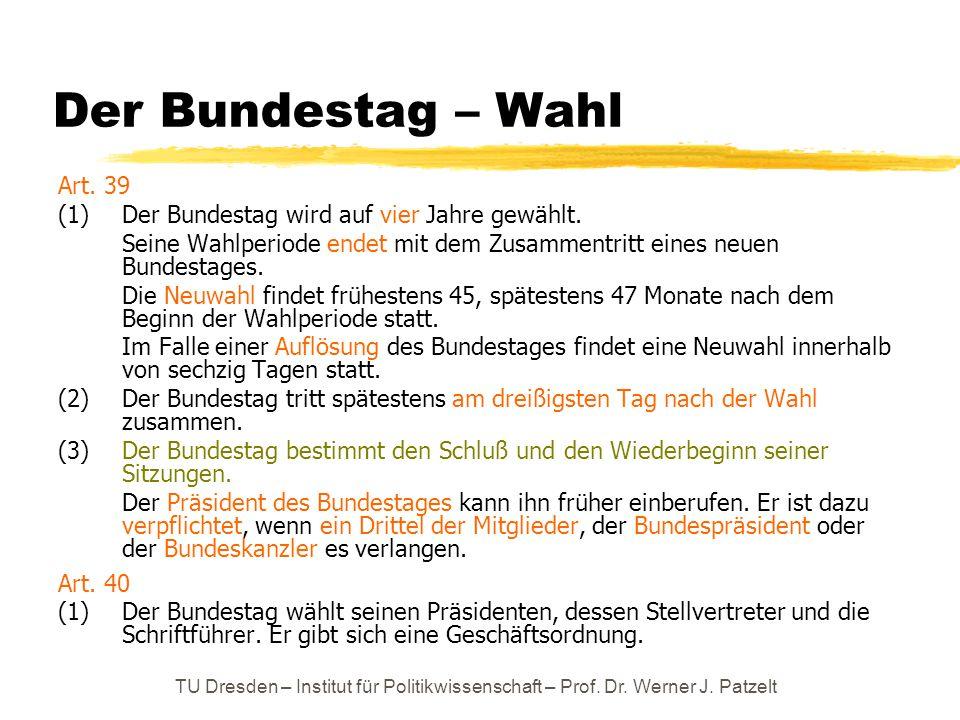 Der Bundestag – Wahl Art. 39