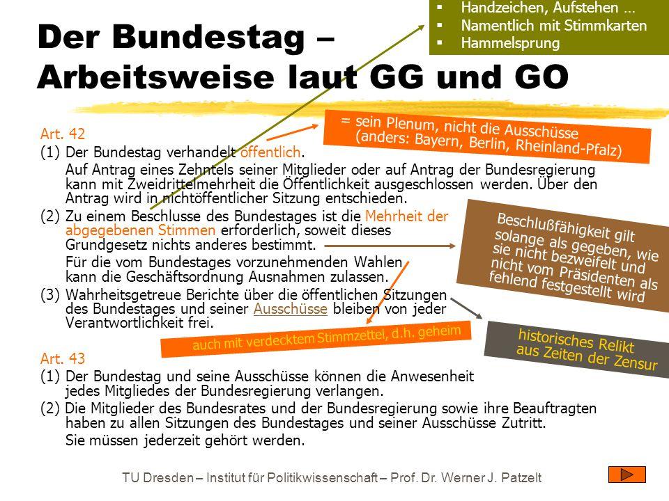 Der Bundestag – Arbeitsweise laut GG und GO