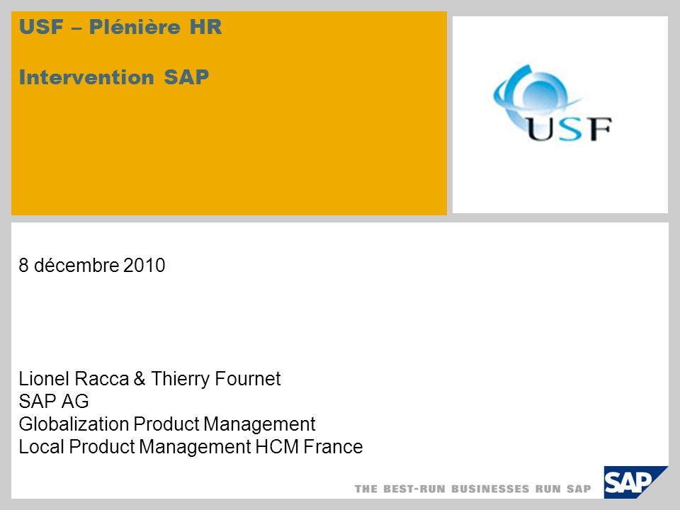 USF – Plénière HR Intervention SAP